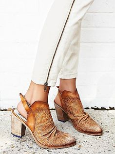 De Soto Heeled Boot | Perforated, textured leather sling-back mule boots with stacked heels and a rippled front.