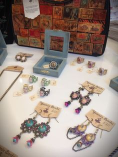 Quirky handmade jewellery and vintage restyled handbags by Yasmin Bochi. For sale at Things British, Greenwich London