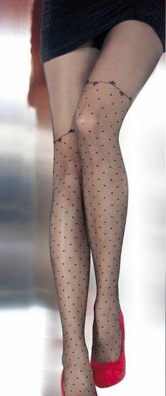 JANESSA Black nylons Tights Hosiery nylons polka dot 20 den G 5314 Fiore Sexy  #Fiore #Tights
