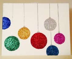 Christmas Canvas DIY Decorations @Kristin Godwin .. I know you hate glitter.. but this is cute!