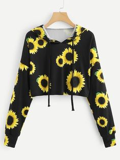 KANCOOLD stylish hoodies for women gothic casual sweatshirt Long Sleeve Sunflower Printing Hooded Blouse Tops Lila Outfits, Teenage Outfits, Mode Outfits, Cute Casual Outfits, Outfits For Teens, Summer Outfits, Crop Top Hoodie, Cropped Hoodie, Crop Top Shirts