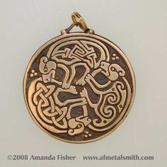 Bronze Triple Bear Triskele Pendant a Celtic by AFMetalsmith, $43.00