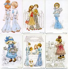 vintage swap cards - I had 2 of these, the first and the one with the well. Sarah Kay, Mary May, Clark Kids, Coloring Pages, Adult Coloring, Decoupage, Dear Mom, Holly Hobbie, Australian Artists