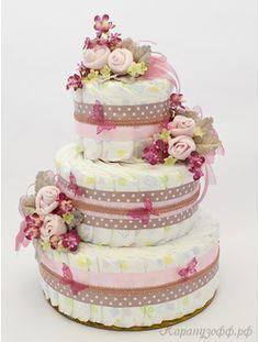 """Торт из памперсов для девочки """"Зефирная нежность"""""""