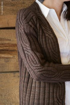 Love this knit sweater, cables and rib.