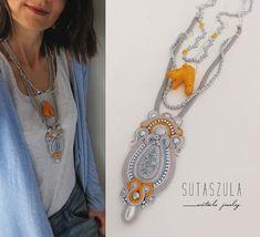 Boho necklace Soutache Necklace gray orange necklace coral necklace gioielli Hippie necklace boho chic Necklace Bohemian necklace colorful