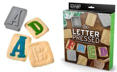 From the humourous bunch at Fred, these Letter Pressed Type Style Cookie Cutters are just the ticket for making stunning cookies to spell out a stunning birthday greeting. The cutters are double-sided – one side is used to cut out the cookies, and the other to press into the dough, to make the impression of a letter. Once the cookies are baked, you can use icing to really make the printing-press style letters sing.  There are twenty six letters, an ampersand and exclamation mark in each pack.