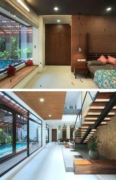 Staircase Design, Staircase Ideas, Modernisme, Architecture, Kerala, Contemporary Style, House Tours, Axial, Facade