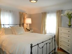 White Hues - Dreamy Bedroom Color Palettes on HGTV walls are painted Harbor Gray from Benjamin Moore