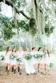 Organic greenery bouquets Mismatched ivory bridesmaid dress Campground wedding  Doe Lake Campground Wedding by Molliner Photography - Southern Weddings
