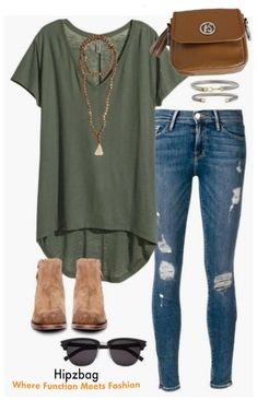 Shop the Look. Military green t-shirt distressed skinny - Shirt Casuals - Ideas of Shirt Casual - Shop the Look. Military green t-shirt distressed skinny jeans suede booties sunglasses and trendy jewelry. Look Fashion, Autumn Fashion, Fashion Outfits, Womens Fashion, Cheap Fashion, Fashion Trends, Fashion Ideas, Fashion Spring, Unique Fashion