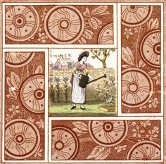 Image of tile, by kate greenaway, produced by t & r boote. birmingham, england, 1883 by V&A Images Tile Murals, Tile Art, English Books For Kids, Art Nouveau Tiles, Antique Tiles, Victoria And Albert Museum, Sign Printing, Birmingham England, Art Decor