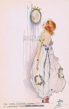 art deco postcard by dolly tree the first evening dress