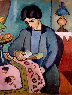 JEUNE FEMME EN BLEU LISANT de August Macke (1887-1914)