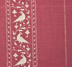 'Baroda II' fabric in Pomegranate --- hand printed on 100% natural linen --- red fabric with white stripes of birds and vines --- Lisa Fine Textiles