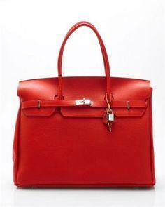 Bright Kelly Genuine Leather Big Shoulder Bag (Orange)