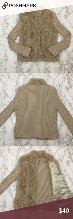HP Rabbit Fur Sweater Tan, zip front sweater with rabbit fur panels in front. Ribbed sweater sleeves and back. Front of sweater is line inside. ★ measurements available upon request ★ reasonable offers considered ★ no trades phosphorus Sweaters