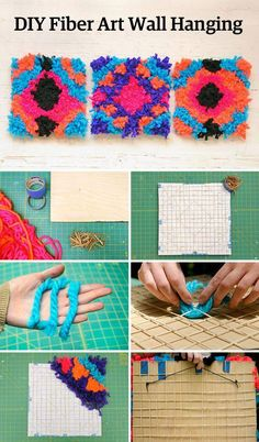 Falling for fiber-art wall hangings? Try our super-quick, super-colorful DIY version. #etsy #DIY