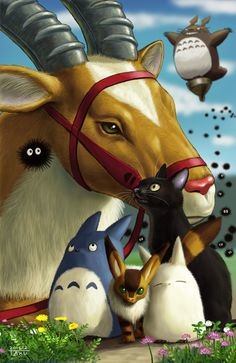 Ghibli animals and spirits