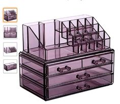 Purple Jewelry and Cosmetic Storage Makeup Organizer