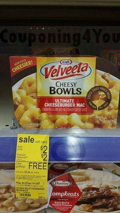 Pick up Velveeta Cheesy Bowls at WAGS; no coupon needed!!