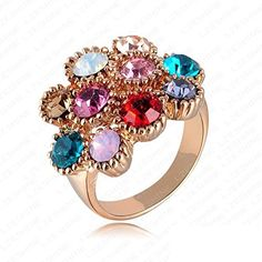 Ananta Jewelry New Women Favourite RingRose Gold Plate Rin With Colorful Austrian Crystals 23*20mm Ri-HQ0292 -- Want to know more, click on the image. http://www.amazon.com/gp/product/B016SG15G2/?tag=jewelry3638-20&prw=280916135231