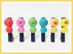 Mini tiara colored denim clip $7.99 in red,pink,green,blue,orange,yellow