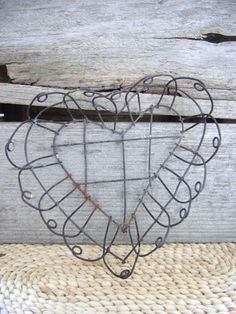 Vintage Heart Wire Basket