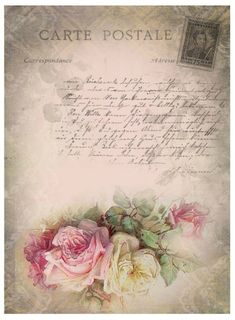 Vintage French Postcard with Roses and writing and stamp on the Background