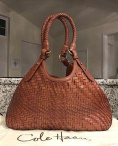 de34017ec8 Cole Haan Genevieve Woven Leather Triangle Saddle Hobo Tote Hand Bag Purse  EUC!