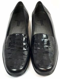 027a20484122 Trotters Womens Loafers Walking Shoes Leather Comfort Black Patent Size 7.5  W