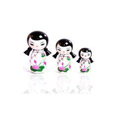 Trio Kokeshi Chiquinha Branca (P,M e G)