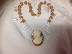 Handmade Cameo Necklace  a Polymer Clay by JewelryByShari on Etsy