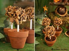 Chocolate marshmallow pops - rolled in crystallized coconut in little pots of edible chocolate dirt