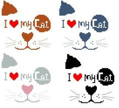 I Love My Cat     Mes Grilles SONT Gratuites, Merci de les UTILISER à des fins personnels Uniquement. si vous brodez mes modeles merci de m'envoyer UNE photo Bonnes Petites Croix ........