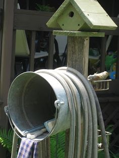 Garden Hose Storage DIY Garden Hose Storage - Maybe I'll do this with the galvanized tub I found last year.DIY Garden Hose Storage - Maybe I'll do this with the galvanized tub I found last year. Diy Garden, Lawn And Garden, Garden Art, Garden Tools, Garden Design, Home And Garden, Garden Water, Garden Sheds, Wooden Garden