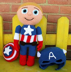captain america doll - publisher has many other cool crochet doll patterns for free!