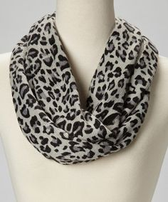 Take a look at this Gray & Black Leopard Infinity Scarf by Jasmine Trading Corp on #zulily today!