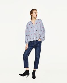 ZARA - SALE - STRIPED EMBROIDERED BLOUSE