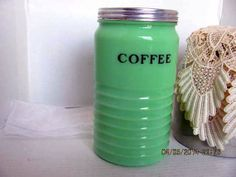 Rare Jadeite Coffee Canister made by Jeannette Glass Co. in 1930's on Etsy, $190.00