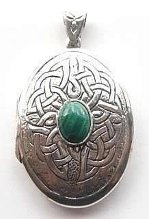 malachite celtic locket