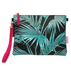 Disaster Designs Palm Leaf Clutch Bag: A cool clutch bag with palm leaf print and 'Hold Me Close' velvet tag detail. Features a detachable wrist and shoulder strap in hot pink and black velvet reverse. The inside features a silver lining with blue printed pattern detail and a small zip pocket. A great gift for someone special or a lovely clutch for a special occasion.