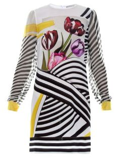 Christie Tulip Stripe-print silk-chiffon dress | Mary Katrantzou | MATCHESFASHION.COM