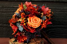 Fall Wedding Bouquet, Autumn Wedding, Autumn Bouquet, Rustic Bouquet, Woodland Wedding, Bridesmaid Bouquet Orange Roses and Fall Foliage 149