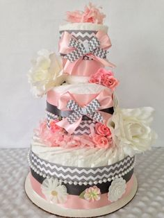 Vintage Shabby Chic Baby Diaper Cake for Girls Pink and Gray