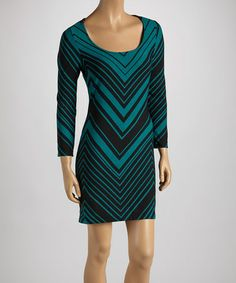 Take a look at this Teal & Black Zigzag Shift Dress by Sweet Silhouettes: Women's Dresses on @zulily today!