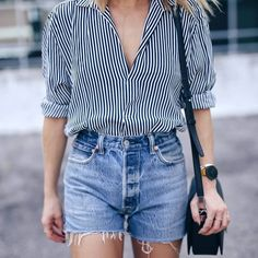 Simple pinstriped shirt with denim shorts.