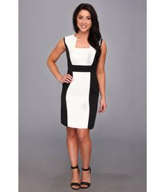 Go from desk to dinner with ease in this polished Tahari by ASL™ dress.. Color block design grants...
