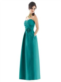 A-line Sweatheart With Belt Hand Made Flower Ocean Green Bridesmaid Dress BD0130 www.simpledresses.co.uk £107.0000