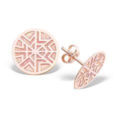 Cercei gravati, pe lobul urechii, GOD OF WIND din aur roz Aztec, Stud Earrings, Jewelry, Jewels, Studs, Schmuck, Jewerly, Jewelery, Jewlery